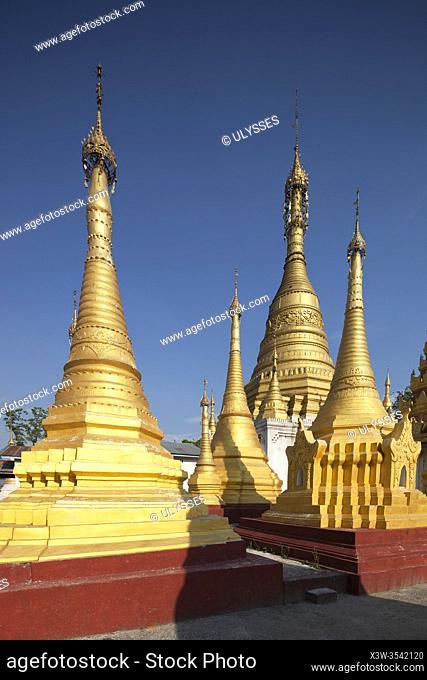 Stupas of Paw Ri Tha monastery, Nyaungshwe area, Inle lake, state of Shan, Myanmar, Asia