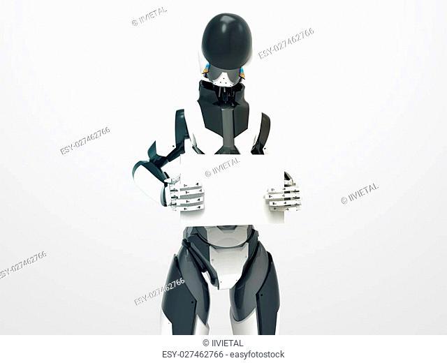 Modern robot holding blank board / 3d cyborg with empty sheet