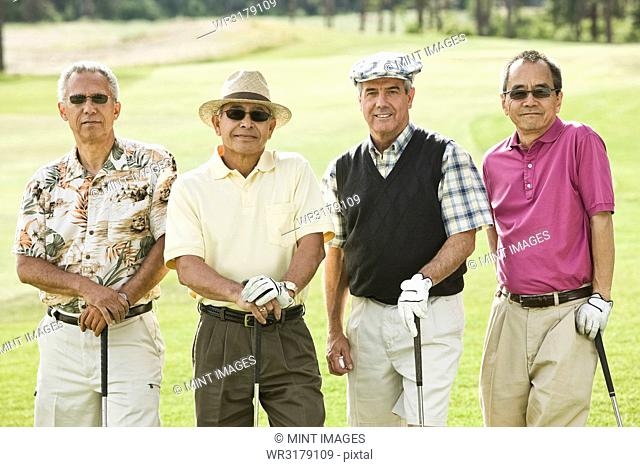 Team of senior golfers out to play a round of golf
