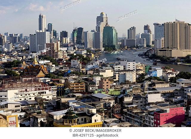 City view, skyscrapers of Bang Rak Financial District, Silom District, Chao Phraya River, Panoramic view from Grand China Hotel, Chinatown, Bangkok, Thailand
