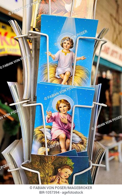 Post cards in a souvenir shop close to the the Chapel of the Nativity of Christ, Bethlehem, West Bank, Israel, Middle East, the Orient