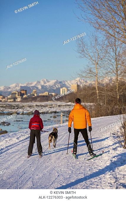 People cross country ski and skijor with an Alaska Husky on the Tony Knowles Coastal Trail near Earthquake Park with Anchorage skyline in the background