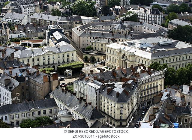 Aerial view of Nantes downtown from the terrace of the Bretagne tower, Loire Atlantique, France