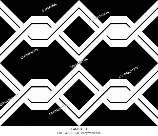 Design seamless monochrome interlaced pattern. Abstract background. Vector art