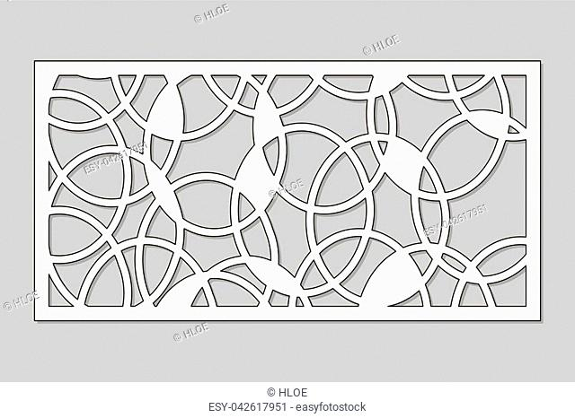 Template for cutting. Abstract circle pattern. Laser cut. Ratio 1:2. Vector illustration