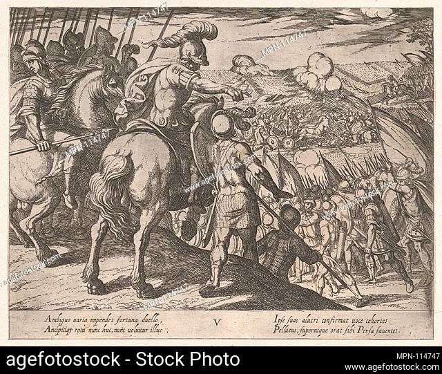 Plate 5: Alexander Directing a Battle, from The Deeds of Alexander the Great. Artist: Antonio Tempesta (Italian, Florence 1555-1630 Rome); Publisher: Johannes...