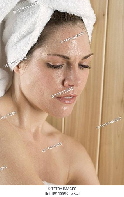 Closeup of woman in sauna