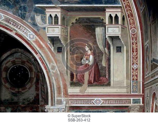 The Annunciation-Detail C.1305-13 Giottoca.1266-1337 Italian Fresco Capella Scrovegni, Padua, Italy