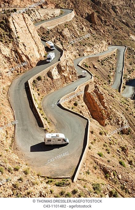 Morocco - At the narrowest spot of the Dadès gorge in the southern High Atlas mountains, the road climbs up in dramatic serpentines  Southern Morocco