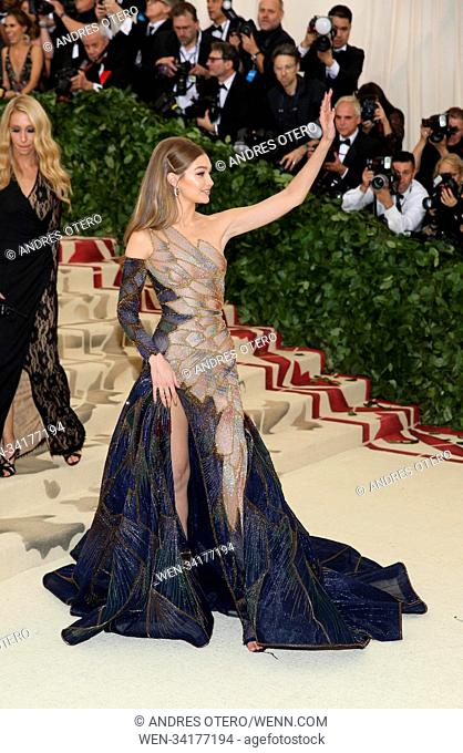 the Heavenly Bodies: Fashion & The Catholic Imagination Costume Institute Gala at Metropolitan Museum of Art on May 7, 2018 in New York City Featuring: Gigi...