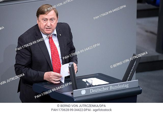 André Hahn (Left Party), a member of the commission of enquiry tasked with investigating the NSA spying affair, during a debate centred on the group's report in...