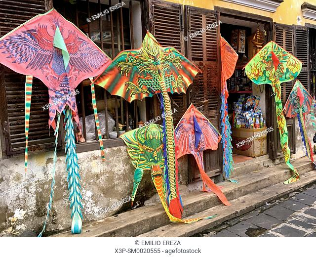 Traditional kites in a gift shop for sale. Hoi An, Vietnam