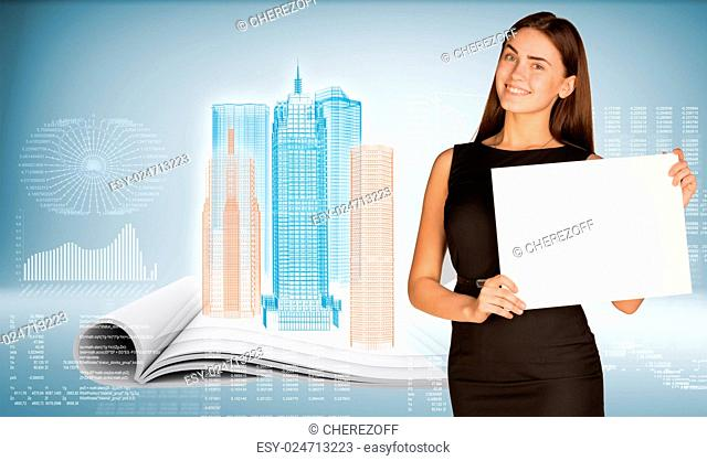Businesswoman holding paper sheet. High-tech wire-frame skyscrapers on open book as backdrop