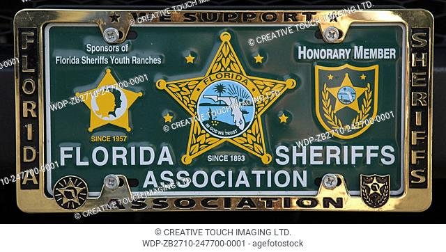 Vehicle vanity licence plate belonging to an honorary member of the Florida Sheriffs Association