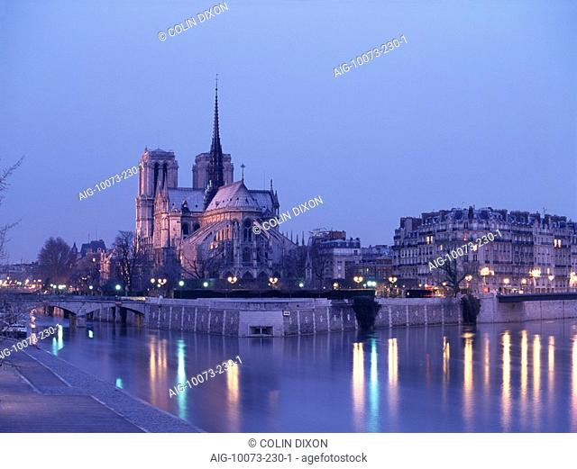 Notre Dame, Paris. the shot from the river Seine at night