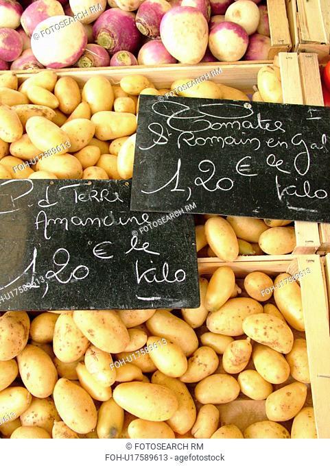 France, Lyon, Rhone-Alpes, Europe, downtown, City Market, potatoes, turnips