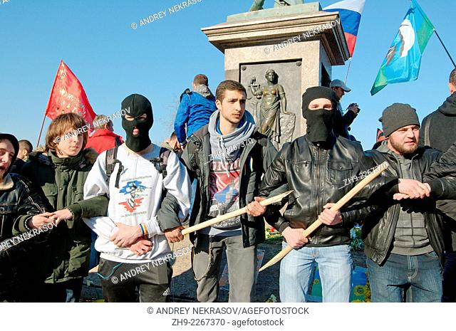 """March 30, Odessa, Ukraine. Activist in the right sector. Radical """"""""right sector"""""""" and self-defense maidan provoked the first clash with supporters antimaidan..."""