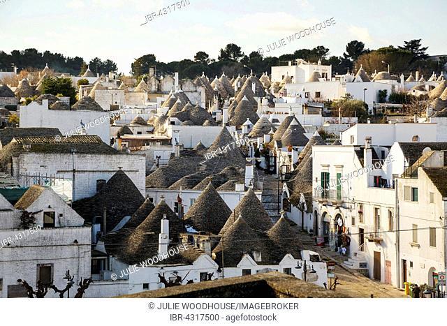 View over the trulli houses in the Rione Monti district, Alberobello, Puglia, Italy