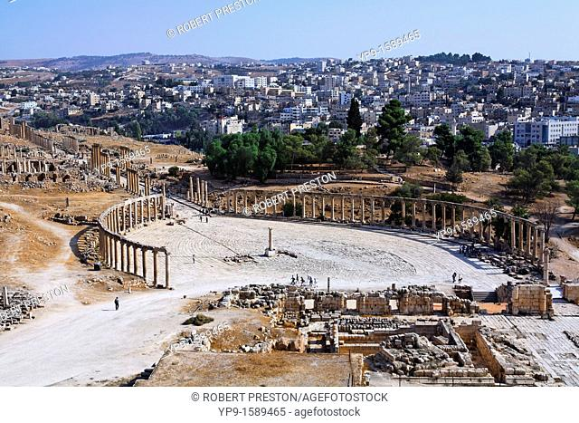 The Oval Plaza at Gerasa and the modern city of Jerash in the background, Jordan