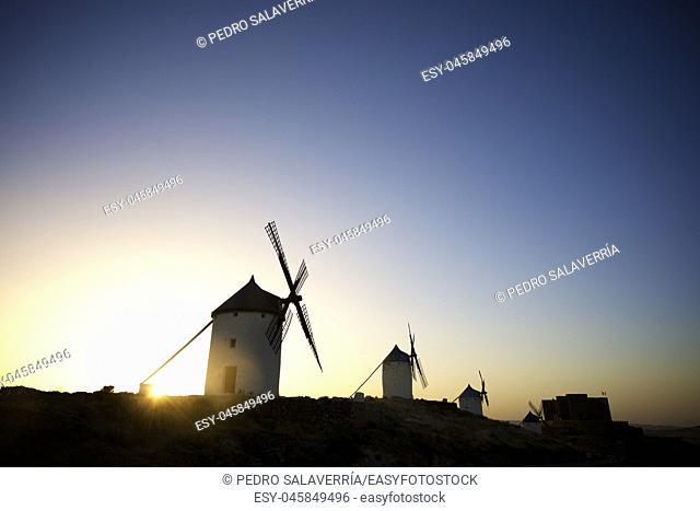 Windmills in Consuegra, Toledo Province, Castilla La Mancha, Spain