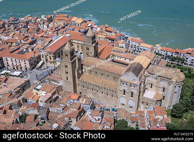 Old Town and Cathedral in Cefalu town, loctaed on the Tyrrhenian coast on Sicily Island, Italy - view from Rocca di Cefalu massif
