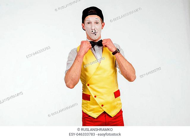 studio shot of two mimes isolated on a white background