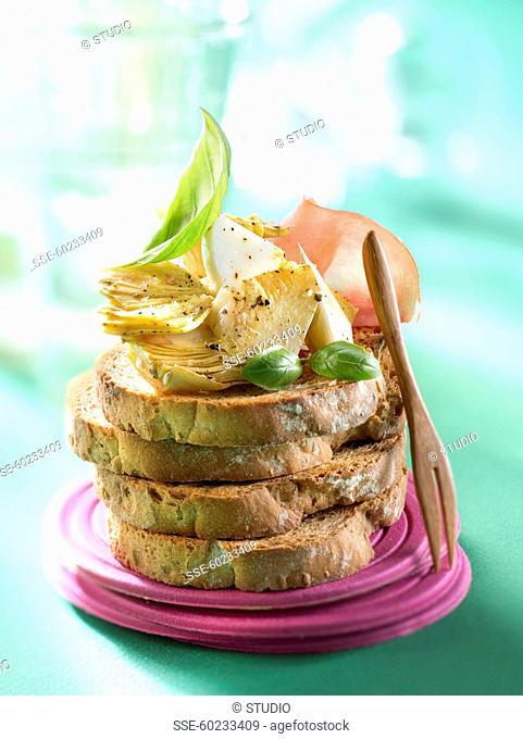 Pickled artichokes on toast