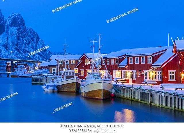 The harbour of Svolvaer, Austvagoya, Lofoten, Nordland, Norway, Europe