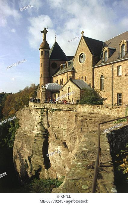 France, Alsace, Ottrott, Mont Sainte,  Odile  Europe, sight, Odilienberg, cloister of the sacred Odilia, cloister installation, buildings, cloister buildings