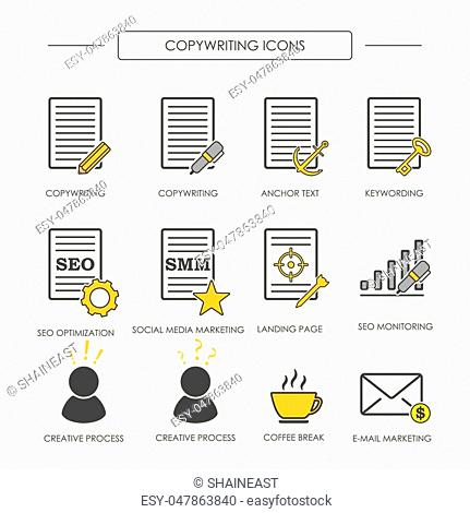 Icons of copywriting in linear style. SEO copywriting and SMM. Vector illustration