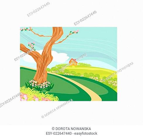 Illustration of a peaceful village in spring