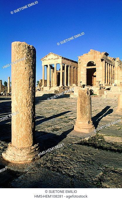 Tunisia, Sbeitla Sufetula, Roman ruins, Minerve, Jupiter and Junon temples