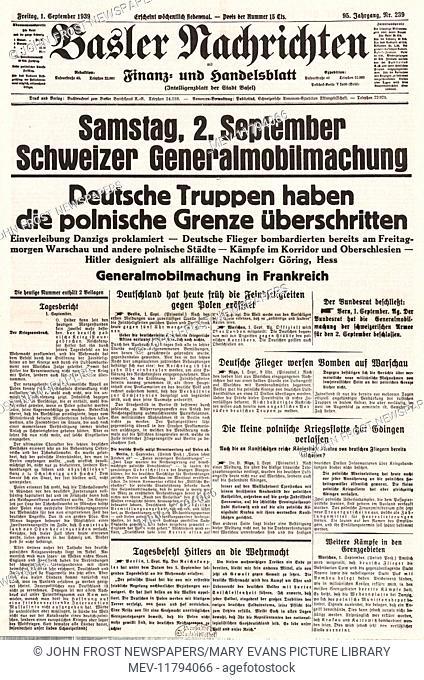 1939 Basler Nachrichten (Swiss) front page German invasion of Poland