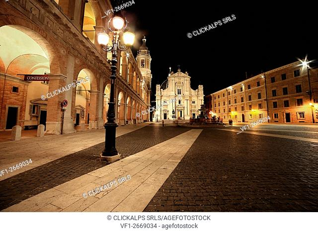 Basilic Madonna nera of Loreto by night. Marches, Italy