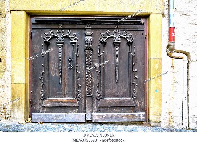 Front door, house facade, autumn, historical, Regensburg, Upper Palatinate, Bavaria, Germany, Europe