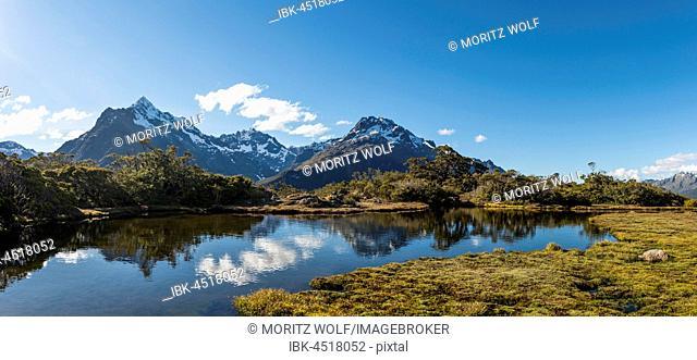 Small mountain lake with reflection, Mount Christina Mountains, Mount Crosscut, Mount Lyttle, Key Summit Track, Fiordland National Park, Southland Region