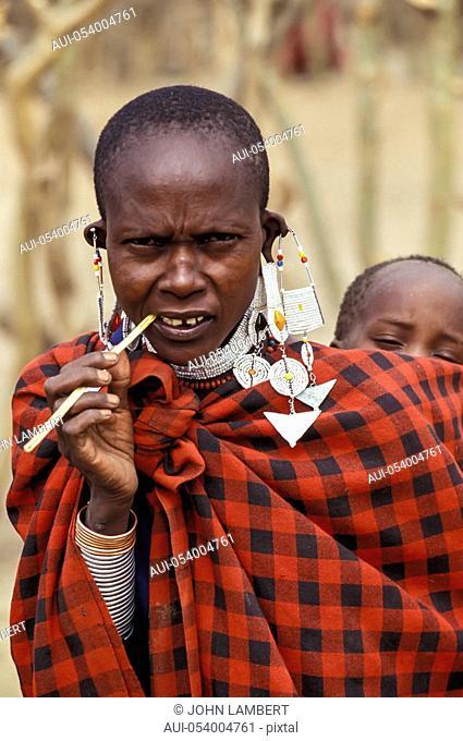 africa, tanzania, masai woman portrait