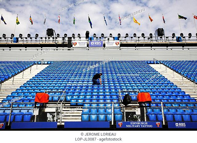 Scotland, City of Edinburgh, Edinburgh, Empty seating ready for the Edinburgh military tattoo at Edinburgh Castle