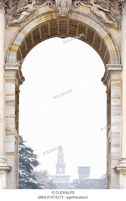 Sforza Castle from the central window of the Arch of Peace, Milan, Lombardy, Northern Italy, Italy