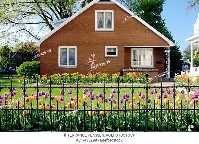 A spring garden and home in the Historical Dutch Village in Pella, Iowa, USA