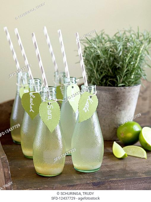 Homemade lemonade in small bottles with straws and name tags, sliced lime and rosemary