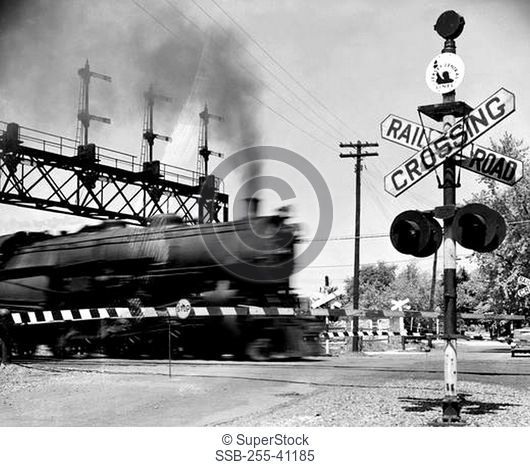Railroad crossing sign at the railroad crossing