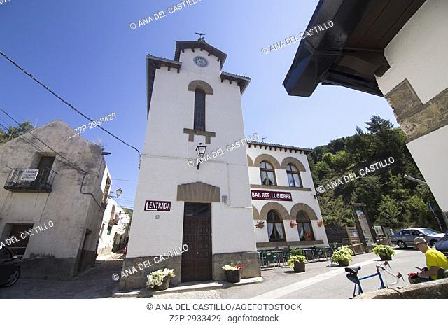 Borau village in Huesca Aragon Spain. The old school