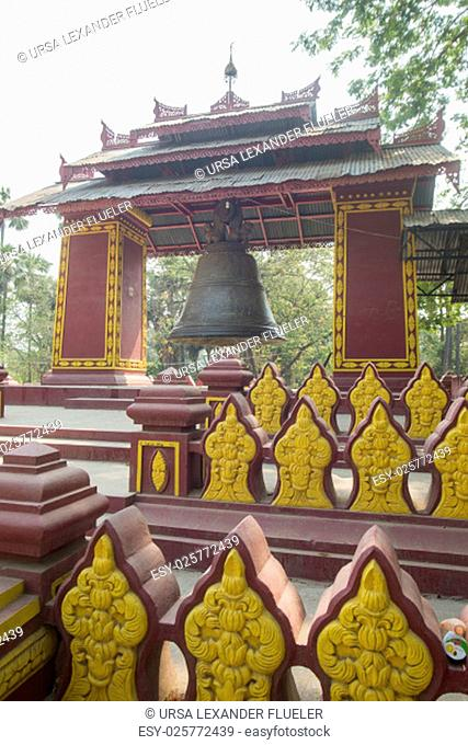 a bell in a temple in Amarapura near the City of Mandalay in Myanmar in Southeastasia