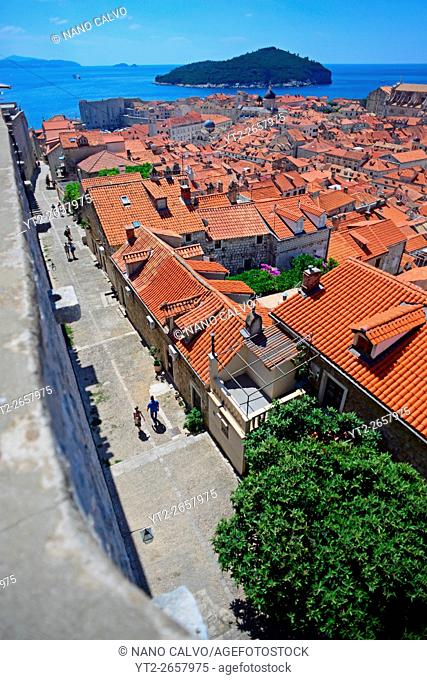 View of the Old Town from the walls of Dubrovnik, Croatia