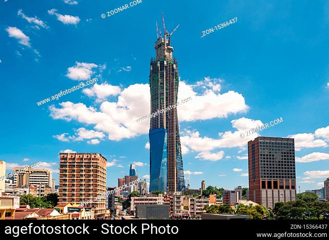 The Merdeka PNB 118 Tower under construction in the Malaysian capital Kuala Lumpur. When completed, the tower will be the tallest building in Malaysia and the...
