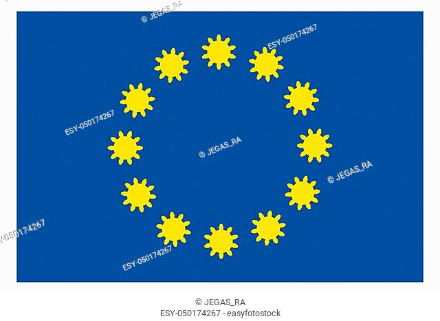 European Union flag with gears instead stars. European Union industry relative image