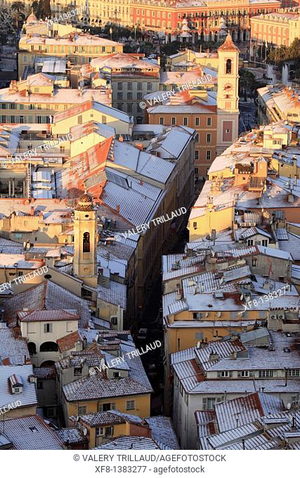 Nice city under the snow, Alpes-Maritimes, Provence-Alpes-Côte d'Azur, France