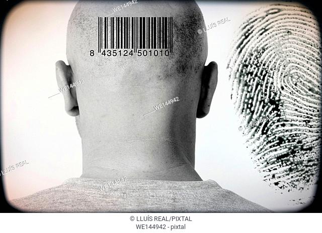 Closeup of a man's head rear view with a bar code and a digital print in the back ground