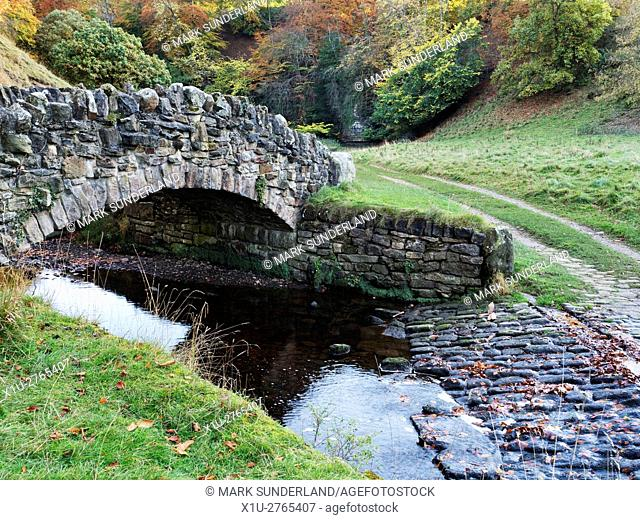 Footbridge over the River Skell in Seven Bridges Valley at Studley Royal Ripon Yorkshire England